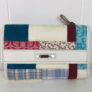 Fossil White Leather & Patchwork Tri-Fold Wallet